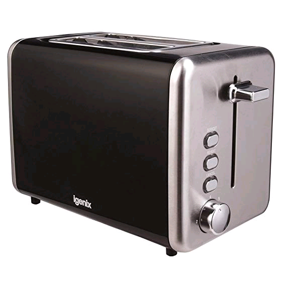 Igenix 2 Slice Toaster Black Metal
