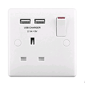 BG Nexus 1 Gang 13a Socket with Twin USB Port