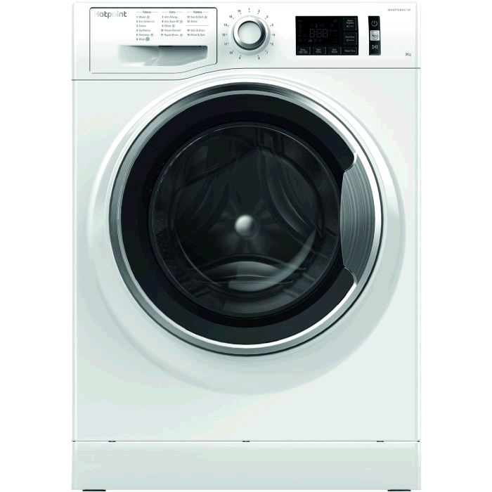 Hotpoint NM11946WCA Washing Machine 9KG 1400 Spin A+++ Steam Pack Rapid  Stop and Add WHITE Large display