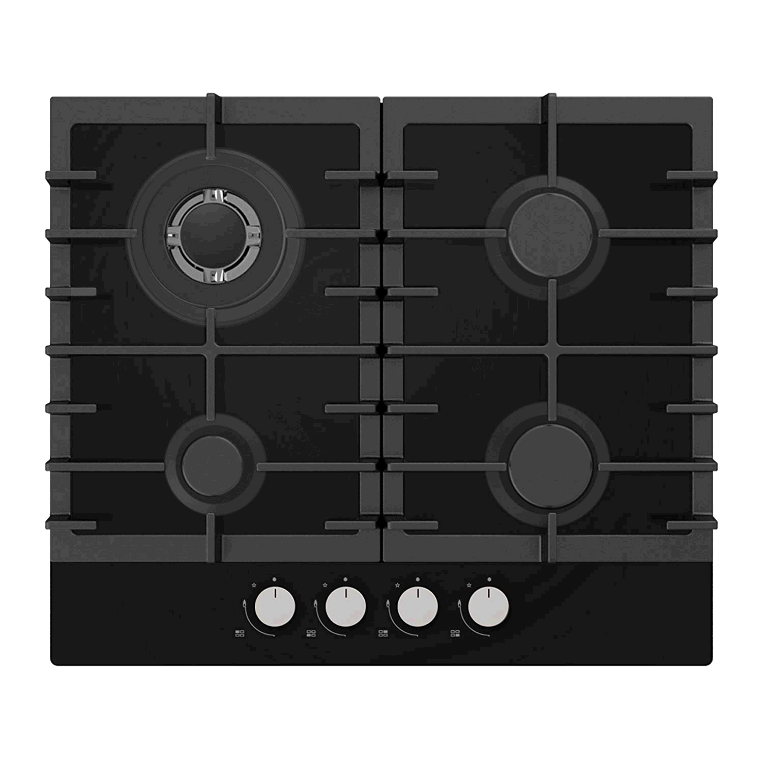 Statesman Built In Gas Hob 60cm on Glass BLACK