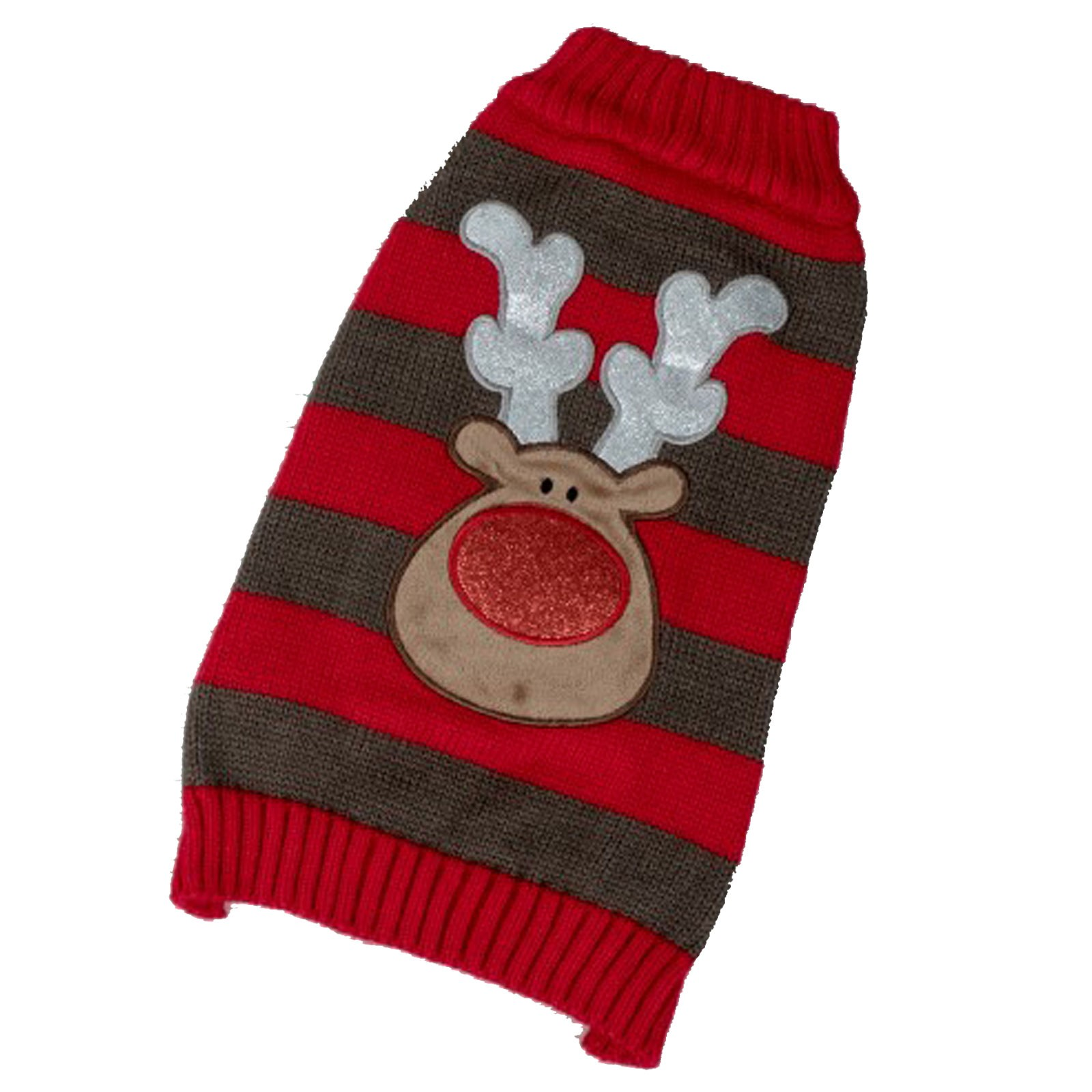 PETFACE 80205 DOG SWEATER MEDIUM 35CM RED/BROWN STRIPE REINDEER PRINT NEW