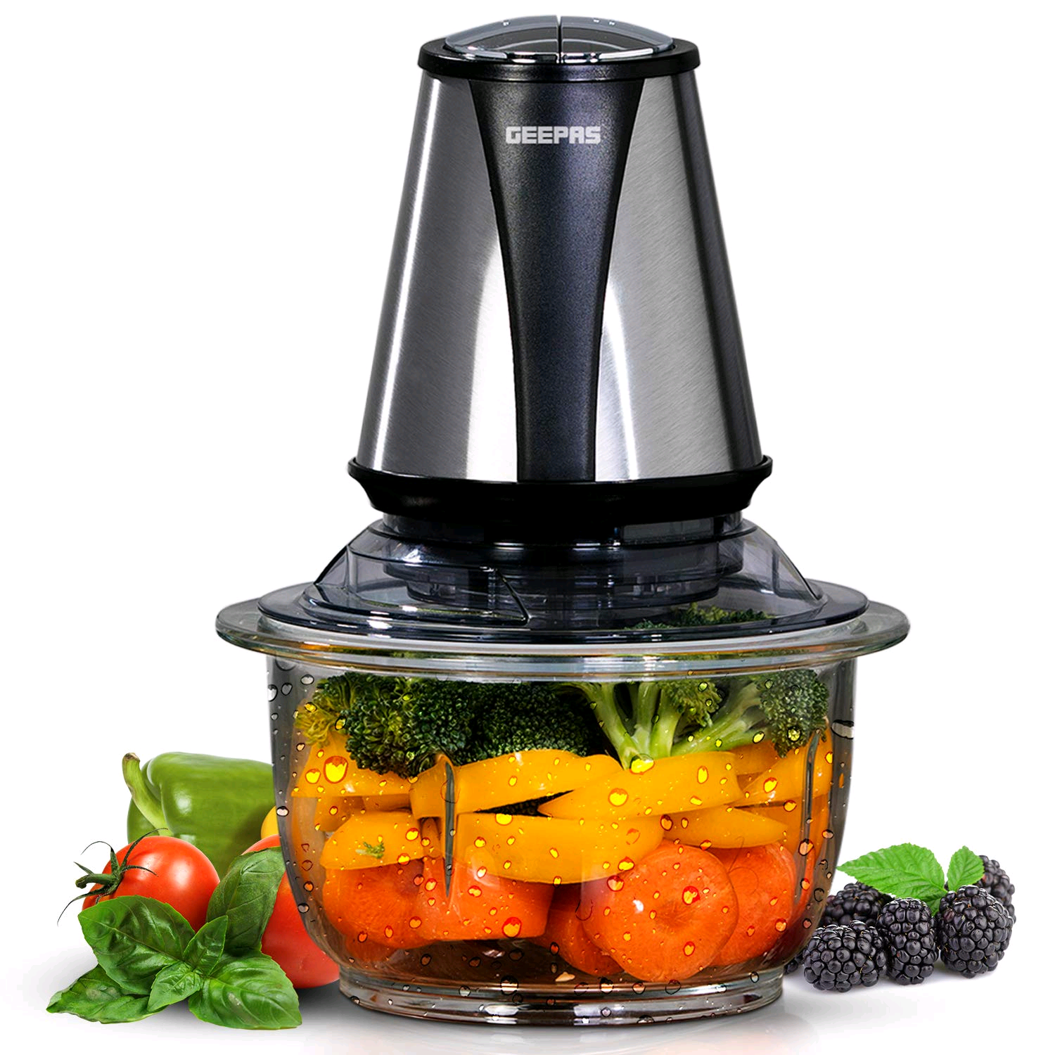 Geepas GMC42014UK 400W Mini Food Processor 1.2L Glass Jar Bowl & 4 Stainless Steel Blades 2 Speed Perfect for Salads, Salsa, Guacamole, Pesto, Curry Pastes More