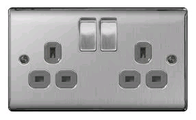 BG Nexus Brushed Steel Twin 13a Socket