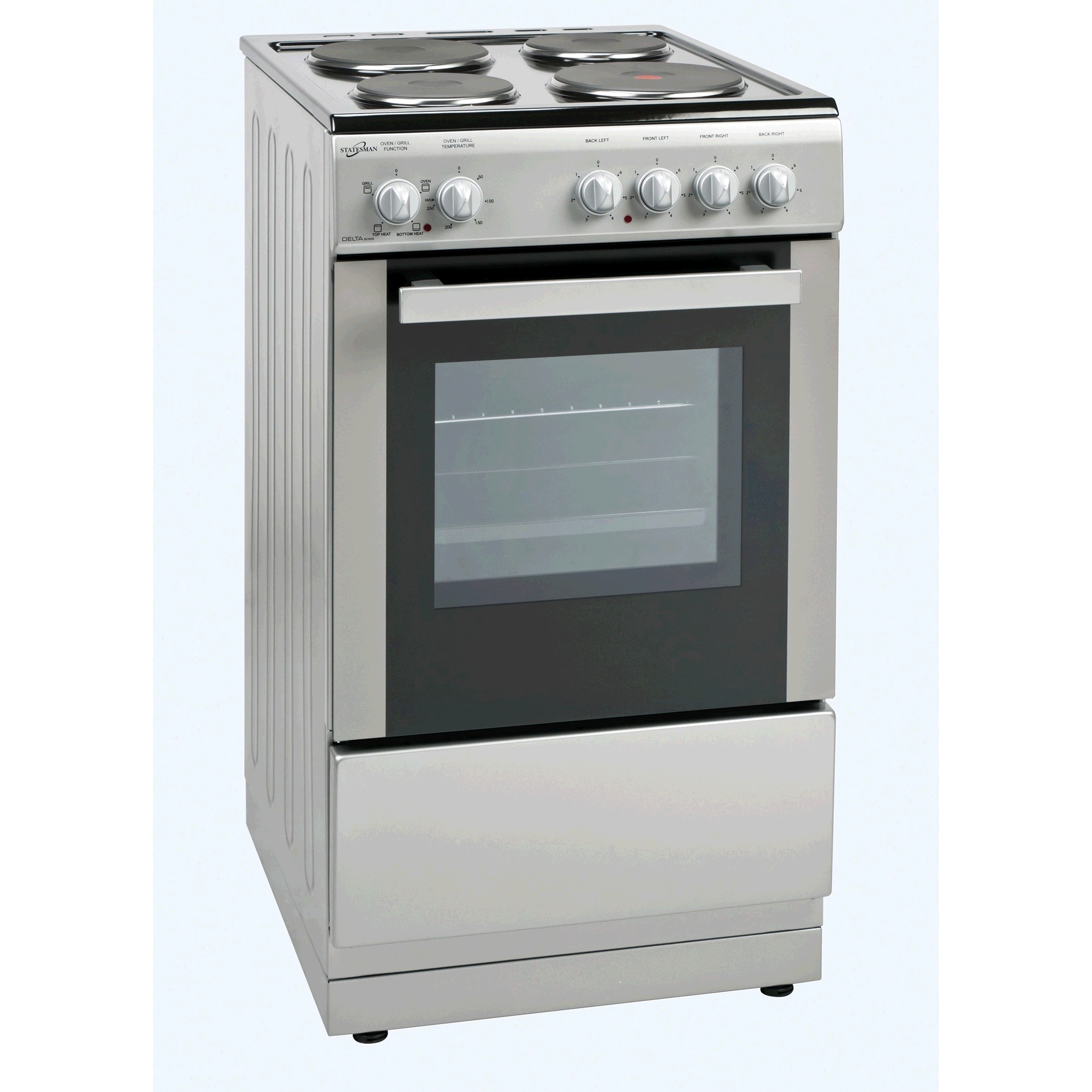Statesman Delta 50cm Single Cavity Cooker Solid Plates in Silver