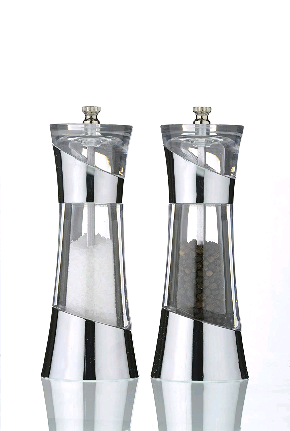 David Mason Design Chelsea Salt & Pepper Set Clear Chrome