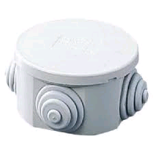 Gewiss Junction Box Round 80 x 40mm c/w Cable Glands IP44