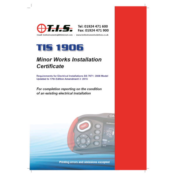 TIS Minor Works Installation Certificate
