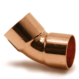 Copper 22mm 45° Obtuse Bend Endfeed