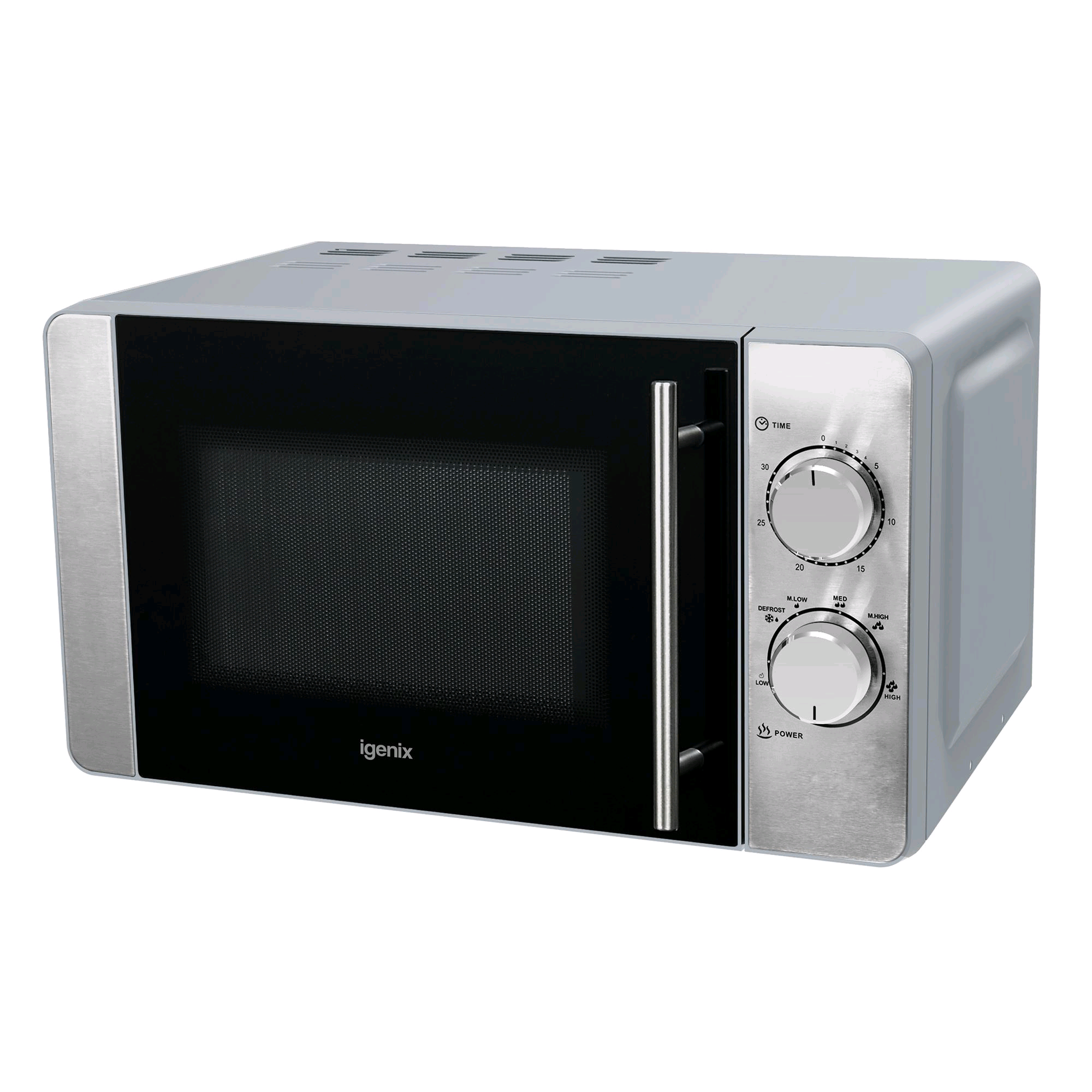 Igenix 20L Manual Microwave 800w Stainless Steel Exterior Painted interior