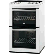 ZANUSSI White 55cm Enamel Lined Double Oven with Ceramic Hob