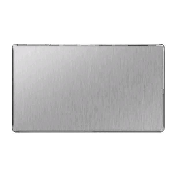 BG 2Gang Blank Plate Screwless Flatplate Brushed Steel