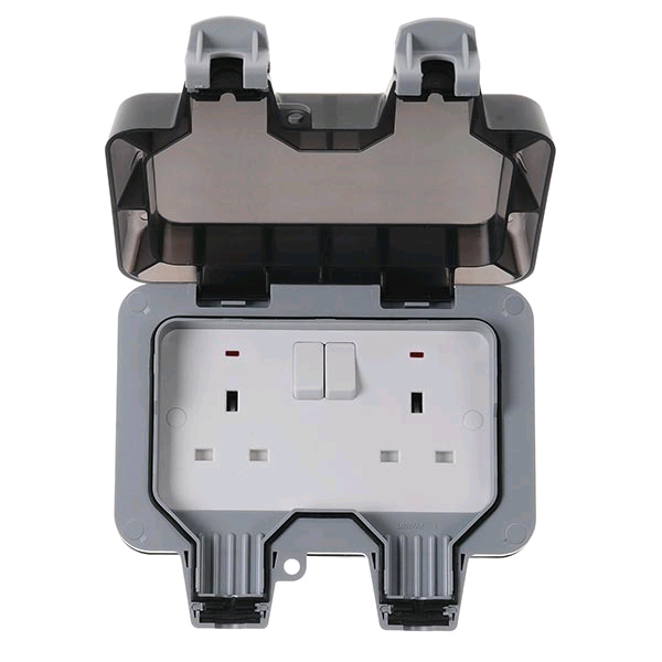 BG Weather Proof IP65 DP 13a 2gang Switched Socket