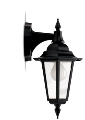 JCC Montella Mains Wall Lantern Downlight Black