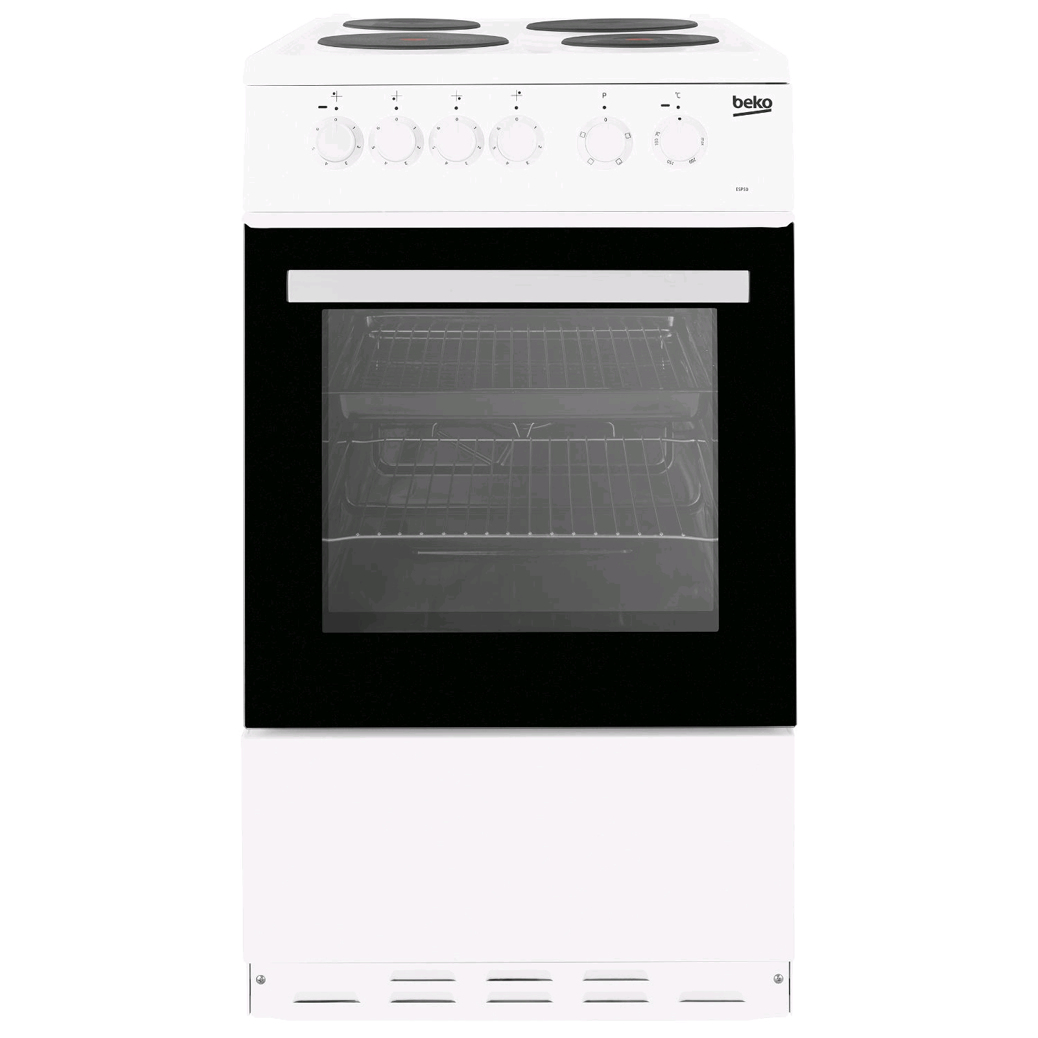 Beko 50cm Single Cavity Electric Cooker Solid Plate in White