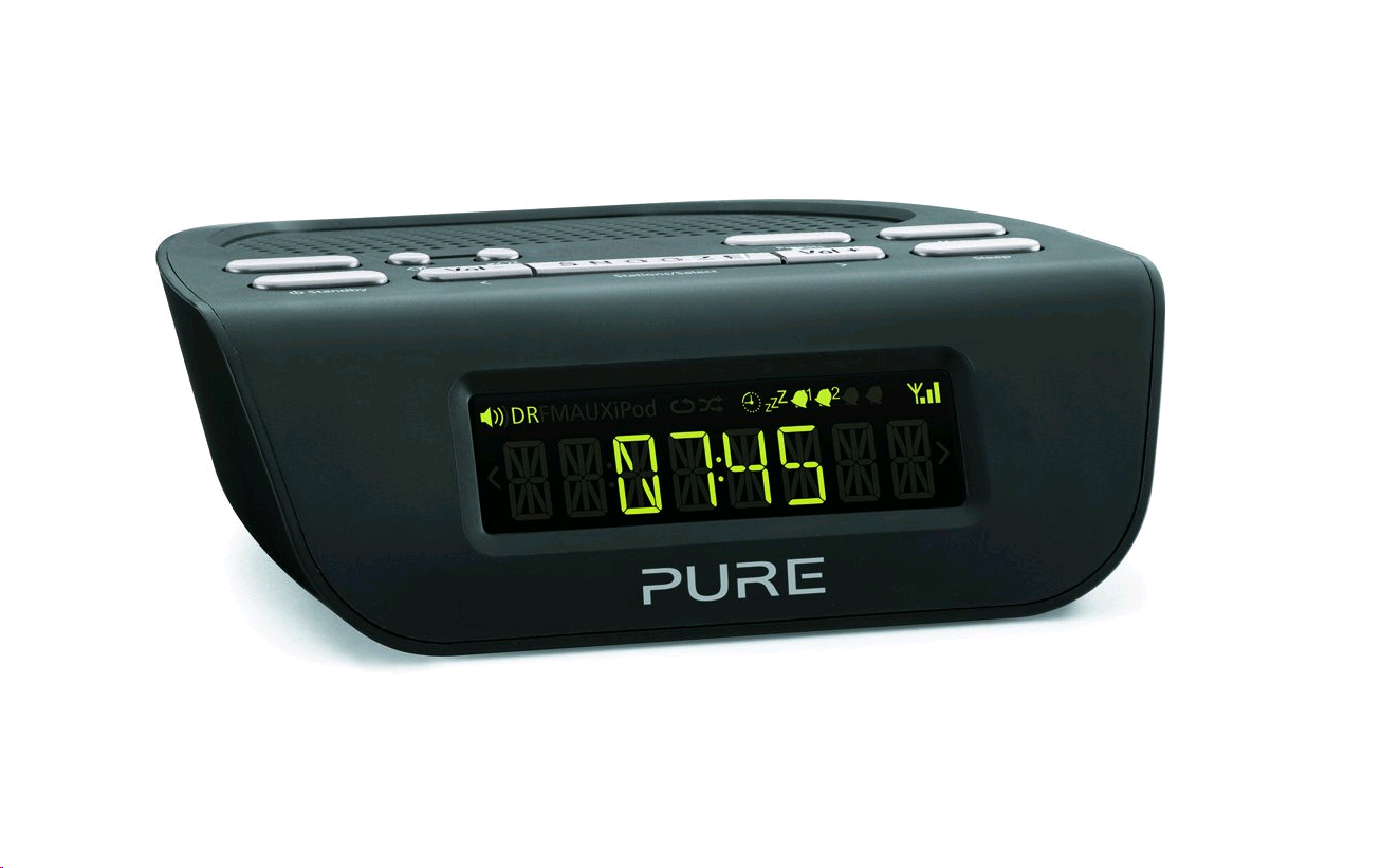Pure Diesta MI BLACK DAB Digital Alarm Clock Radio