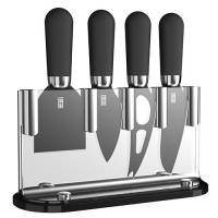 TAYLORS LMS24CS2 BROOKLYN CHEESE KNIFE SET 4 PIECE ANTI BAC BLK CERAMIC COATED -CHROME BOLSTER LESS THAN HALF RRP