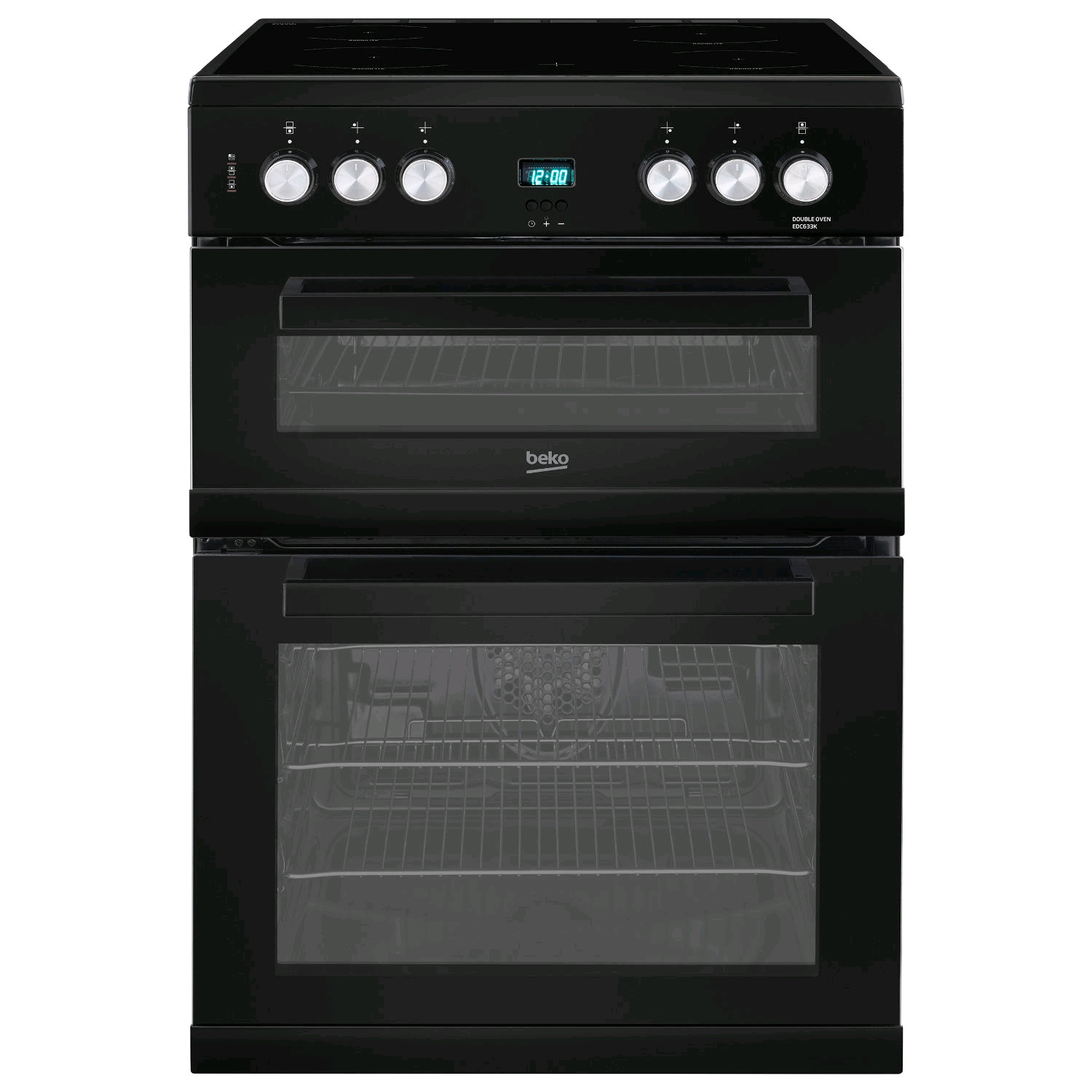 Beko Double Oven Electric Cooker Black Ceramic Hob 60cm