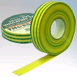 Thorsman 19mm x 33mtr YELLOW/GREEN Insulating Tape