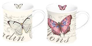 STOW GREEN 3500 BUTTERFLY PORCELAIN MUGS X2 GIFT BOXED