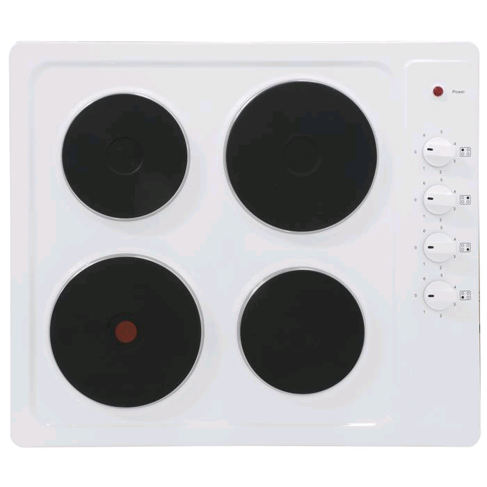 Montpellier 60cm Electric Solid Plate Hob White