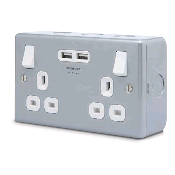 BG Metal Clad 2gang 13a Switched Socket + 2USB