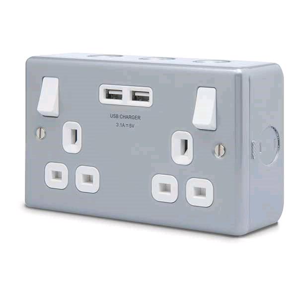 BG Metal Clad 2gang 13a Switched Socket + 2USB