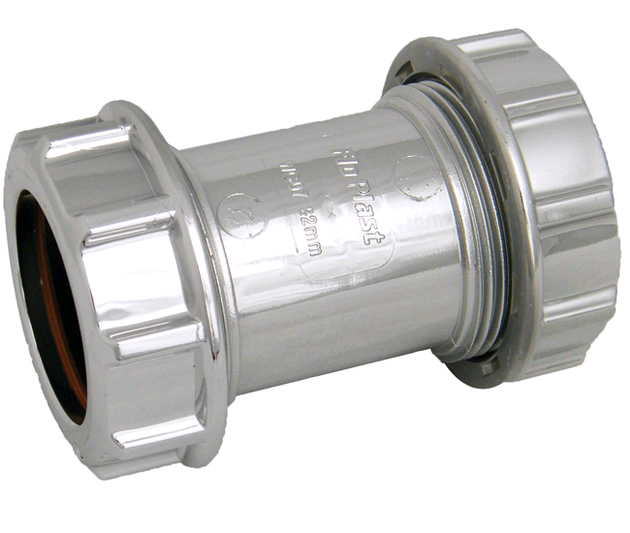 FloPlast Chrome Unicom Comp Waste 32mm Straight Coupler