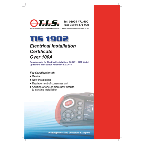 TIS Electrical Installation Certificate Book