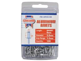 Faithfull Aluminium Rivets 3.2mm x 6mm Short Pre-Pack of 100