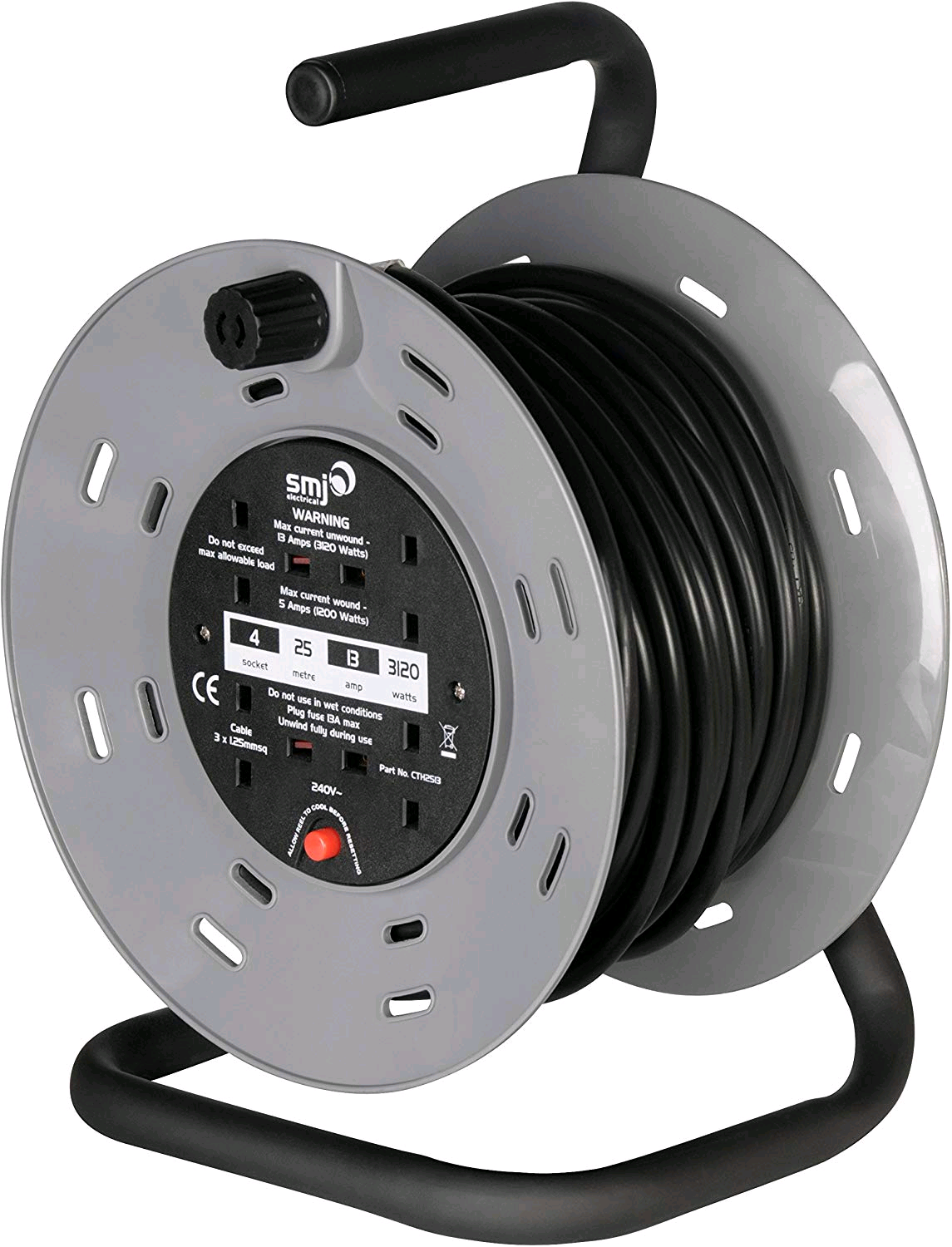 SMJ CTH2513 CABLE REEL 4 SOCKET WITH THERMAL CUT OUT 25M