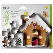 DEXAM 17848967 MAKE AND BAKE GINGERBREAD HOUSE CUTTER SET X10