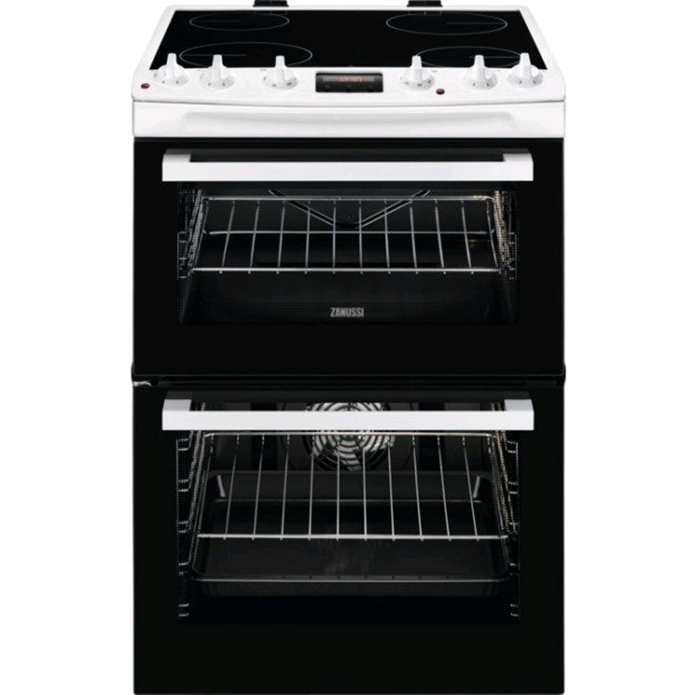 Zanussi ZCV66078WA 60cm Electric Double Oven with Ceramic Hob with Timer - White - A/A Rated