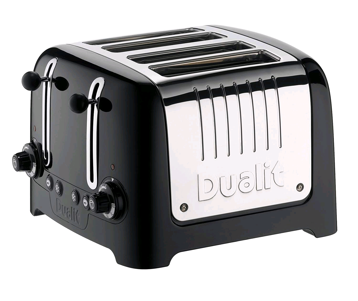 Dualit 4 Slice Toaster Black with Stainless Steel Ends